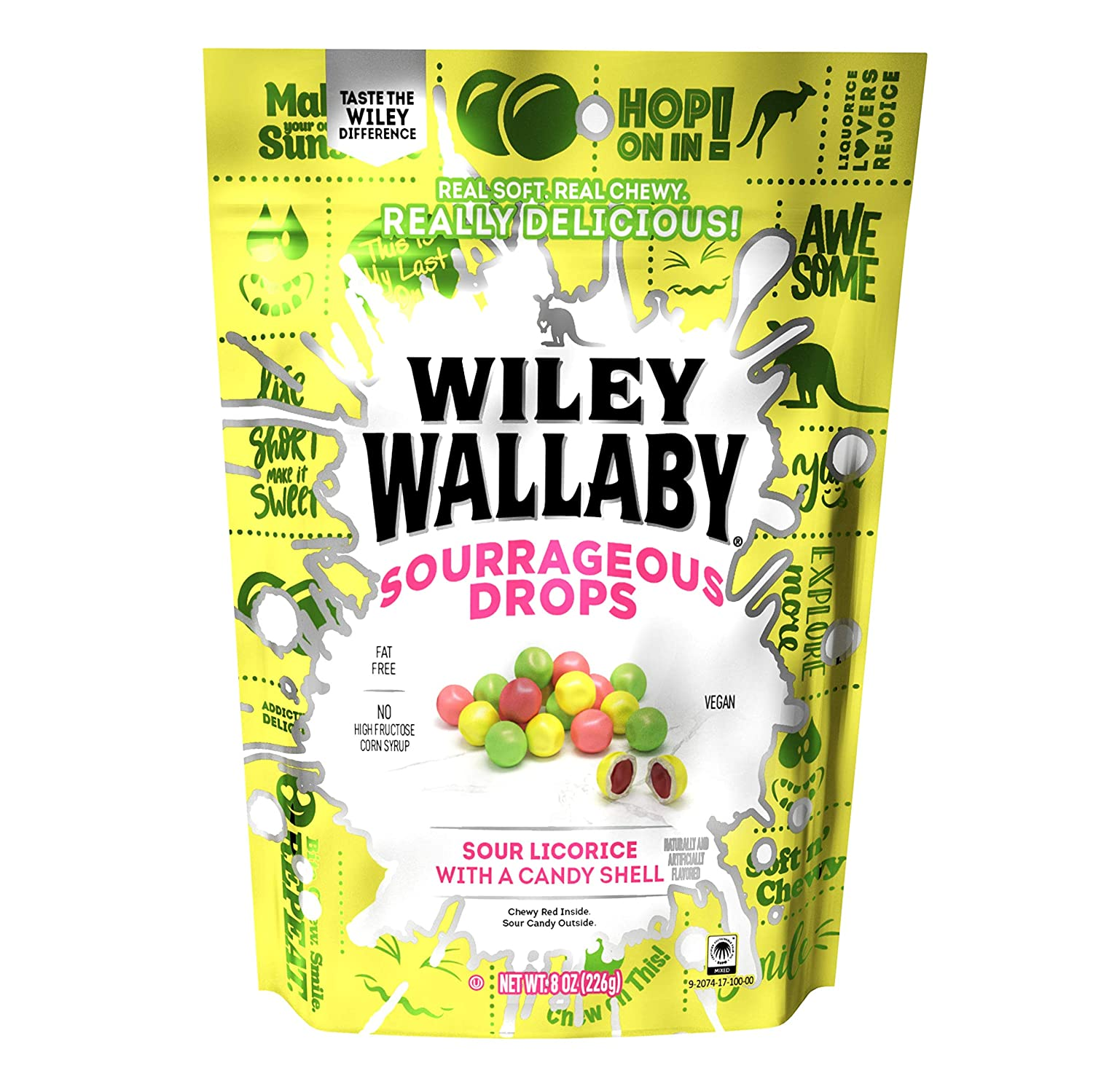 Wiley Wallaby Sourrageous Drops, Mix of Watermelon, Green Apple & Lemon with Sour Red Center, 8 Ounce Bag