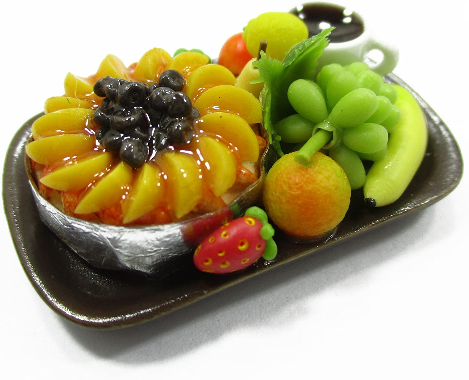 Mixed Fruit On Wooden Plate Kitchen Food for 1//12 Dollhouse Miniature