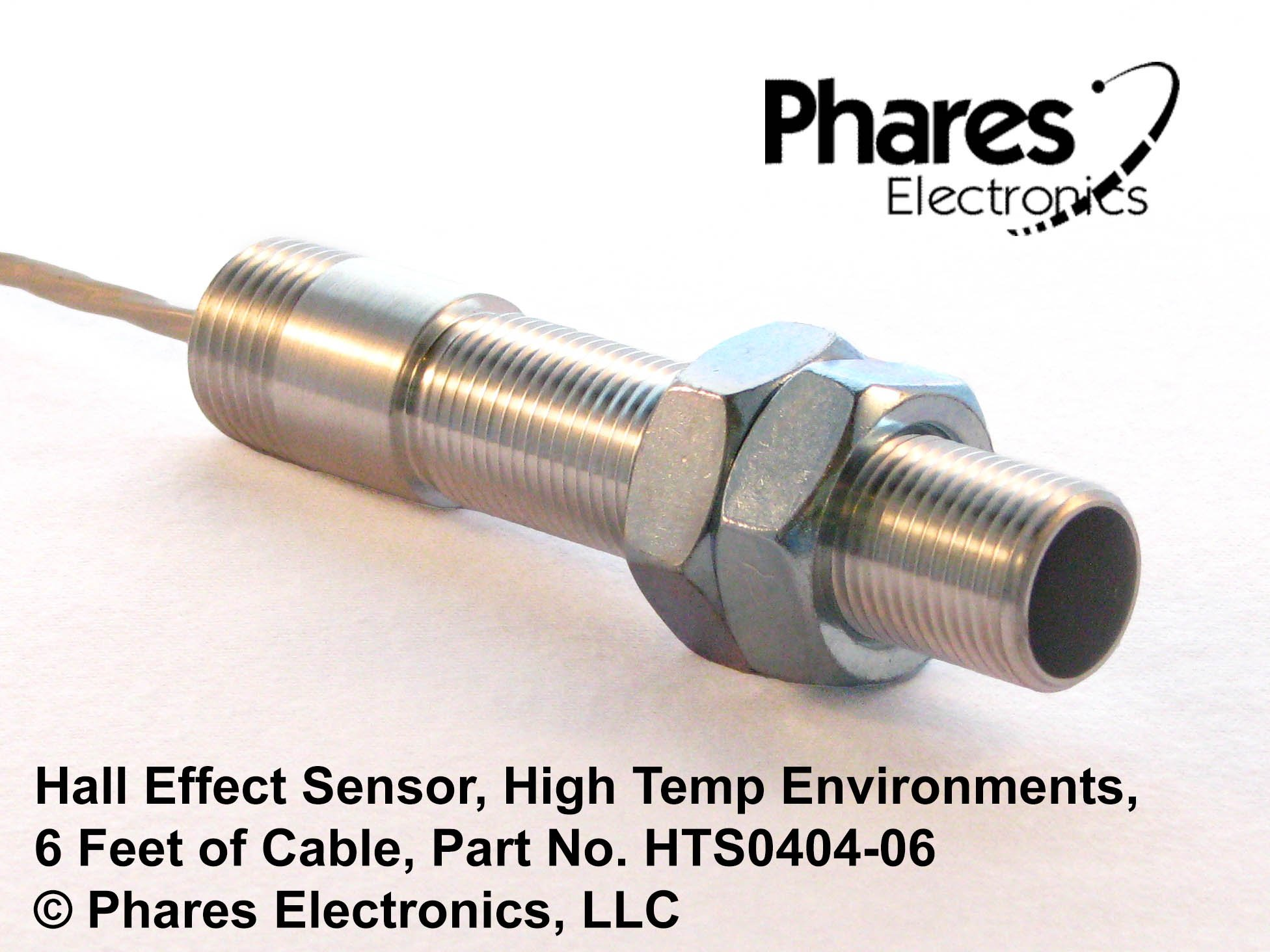 Phares Electronics Hall Effect Sensor for High Temperature Industrial Environments, 6' Cable