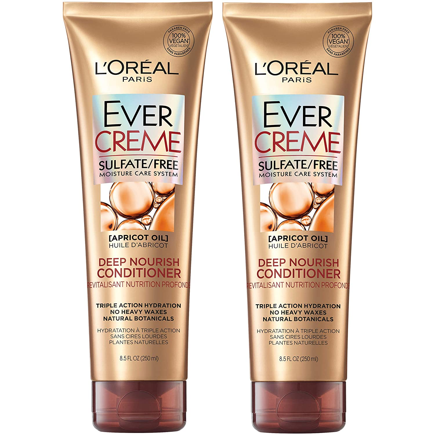 L'Oréal Paris Hair Care EverCreme Sulfate Free Moisturizing Deep Nourish Conditioner with Apricot Oil for Dry Hair, 8.5 Fl. Oz (Pack of 2)