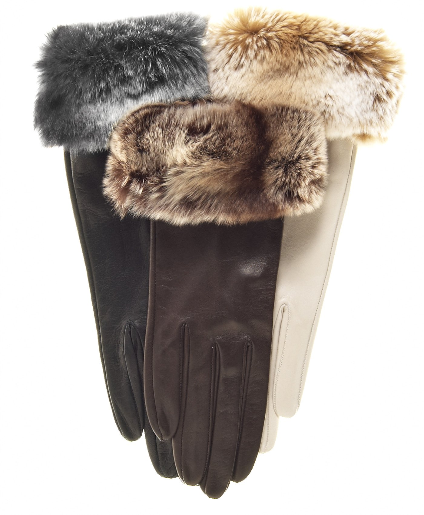 Fratelli Orsini Women's Orylag Rabbit Fur Cuff Cashmere Lined Leather Gloves Size 7 1/2 Color Brown by Fratelli Orsini (Image #1)