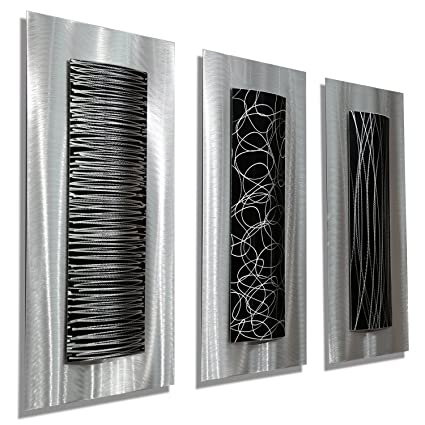 38ab0c06e45 Amazon.com  Statements2000 Contemporary Black   Silver Abstract Metal Wall  Art Accent Modern Home Decor
