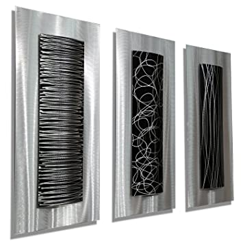 contemporary black silver abstract metal wall art accent modern home decor set of three - Modern Wall Art Decor