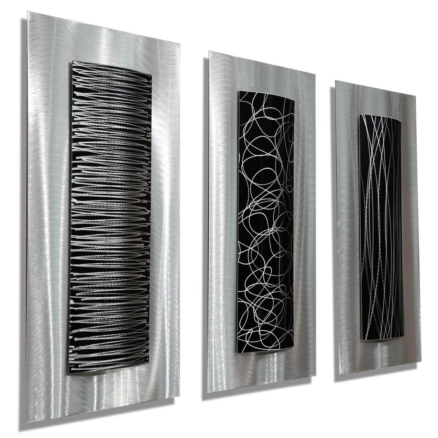 Contemporary Black & Silver Abstract Metal Wall Art Accent Modern Home Decor, Set of Three - Trifecta by Jon Allen