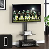 FITUEYES Universal Floor TV Stand with Shelf fit 32 to 55 inch LED LCD, Swivel and Height Adjustable TT206501GB