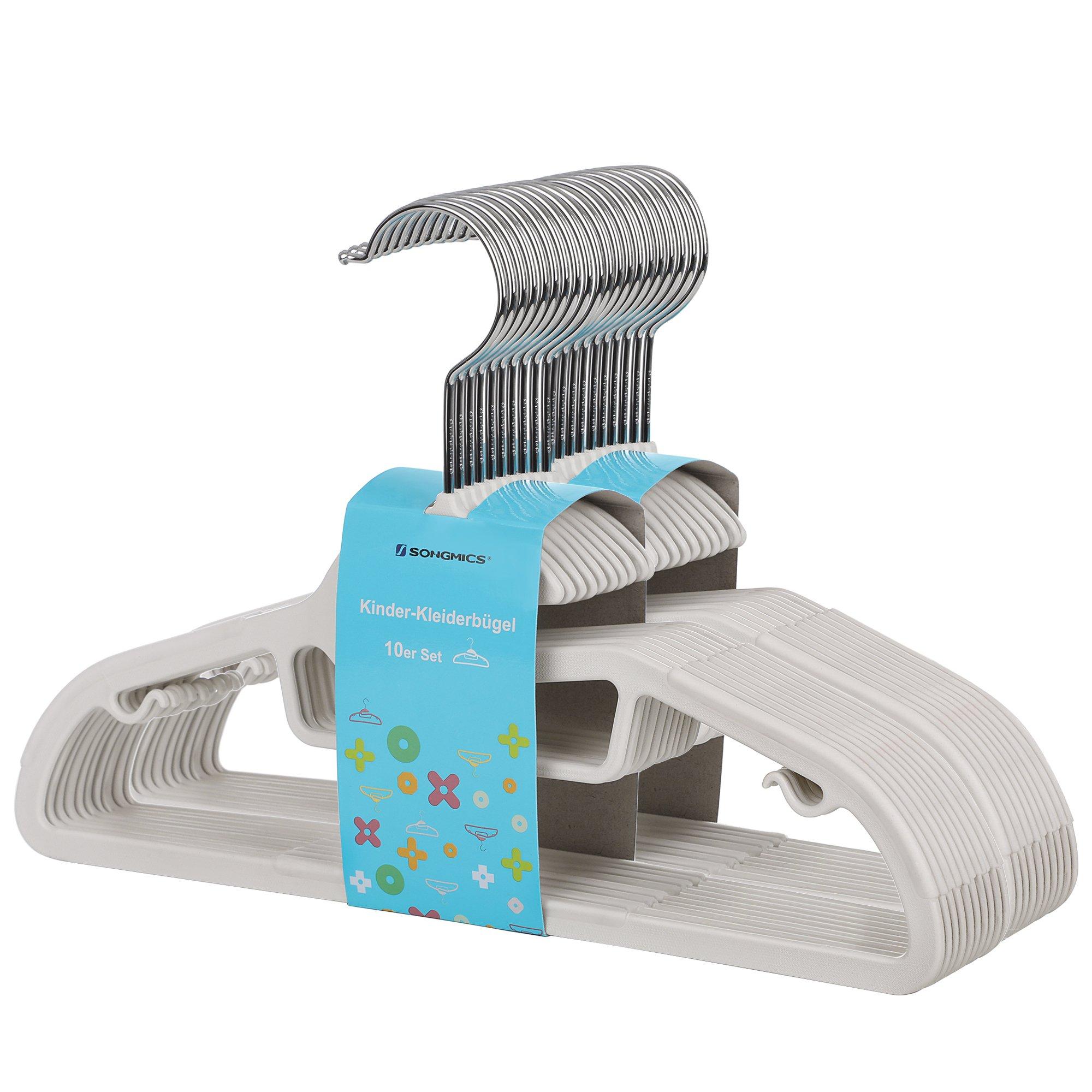 SONGMICS Perchas Infantiles Plástico Set de 20 Abertura en Forma de S Tiras Antideslizantes 30 cm