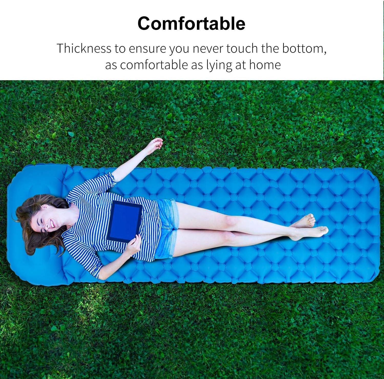 Ultraleichte Campingmatratze mit Kissen blau Aufblasbare Schlafmatte Wasserdichtes Tragbares Kompaktes Luftpolster Zusammenklappbares Einzelbett f/ür Rucksacktouren im Freien Wandern Reisen