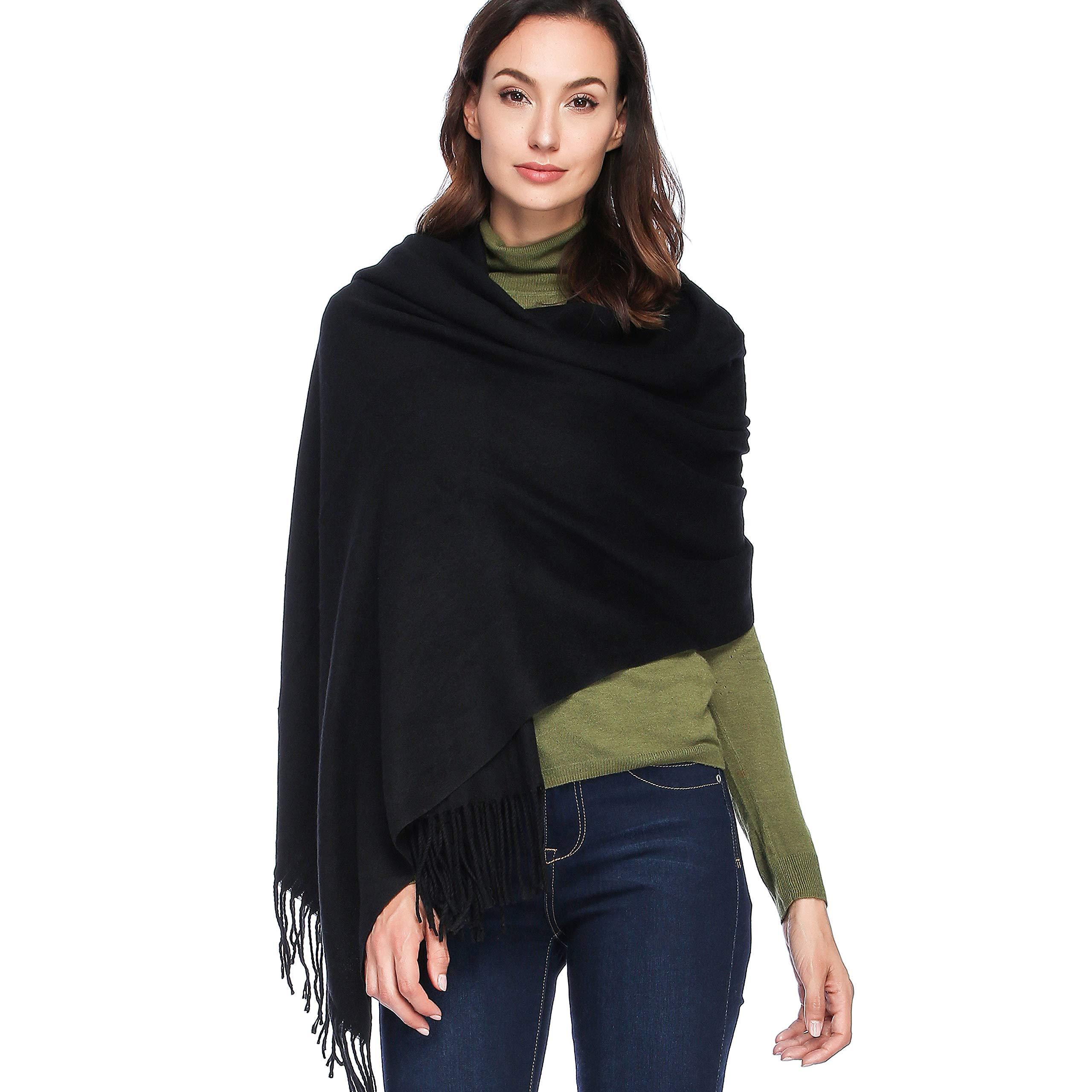 HOYAYO Cashmere Wool Shawl Wraps - Extra Large Thick Soft Pashmina Scarf(Black)