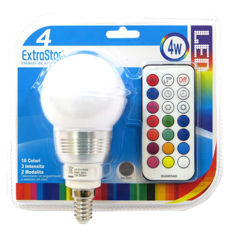 1 x Luz Bombilla E14 LED cromoterapia 16 colores RGB 4 W + Mando a distancia ExtraStar: Amazon.es: Iluminación