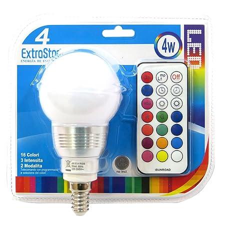 1 x Luz Bombilla E14 LED cromoterapia 16 colores RGB 4 W + Mando a distancia