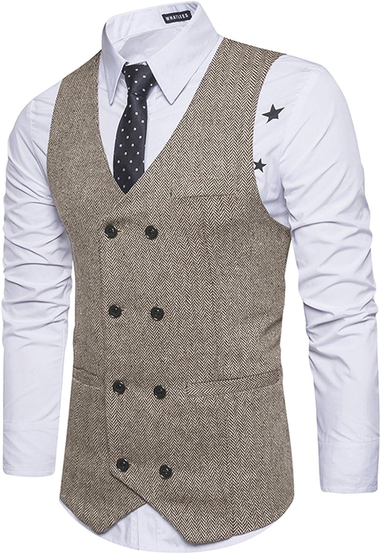 WHATLEES Whatless Gilet Uomo Slim Elegante in Tweed a Spina di Pesce