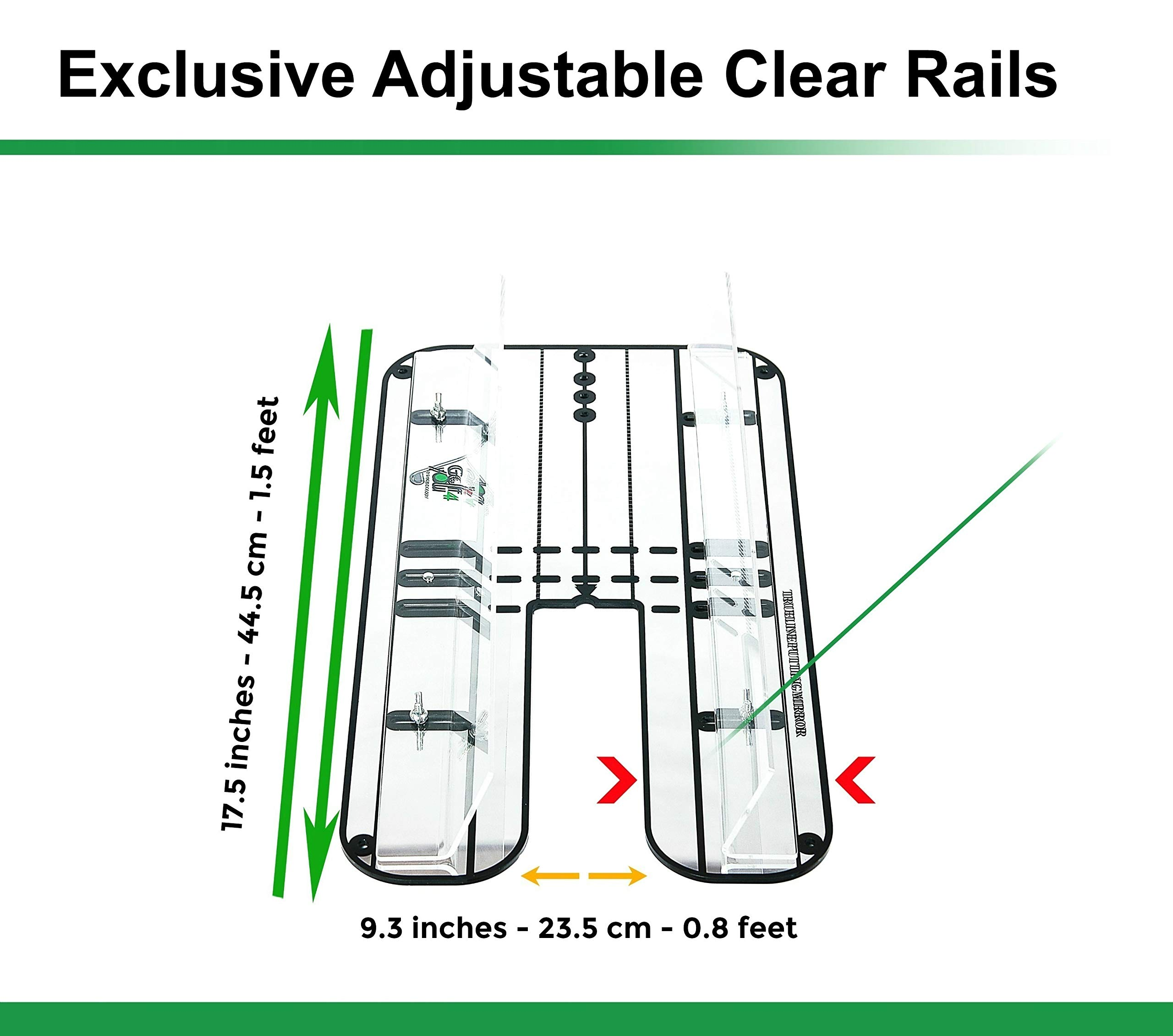 Golf Training Aid, Putting Set - XL Alignment Mirror Design with Our Exclusive Clear Adjustable Guide Rails ''True Line Putting Mirror'' - Leading Practice Aid for On-Line, Consistent Putting Stroke by GOLF4 YOU THE WORLD OF GOLF (Image #5)