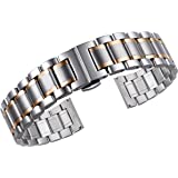 21mm Men's High-end Two Tone Silver and Rose Gold Solid Stainless Steel Watch Bands Replacements with Both Curved and Straight Ends