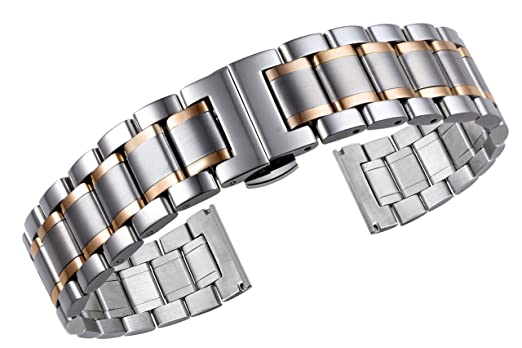 Types Of Watch Bands >> 20mm Luxury Metal Watch Straps Solid Two Tone Silver And Rose Gold