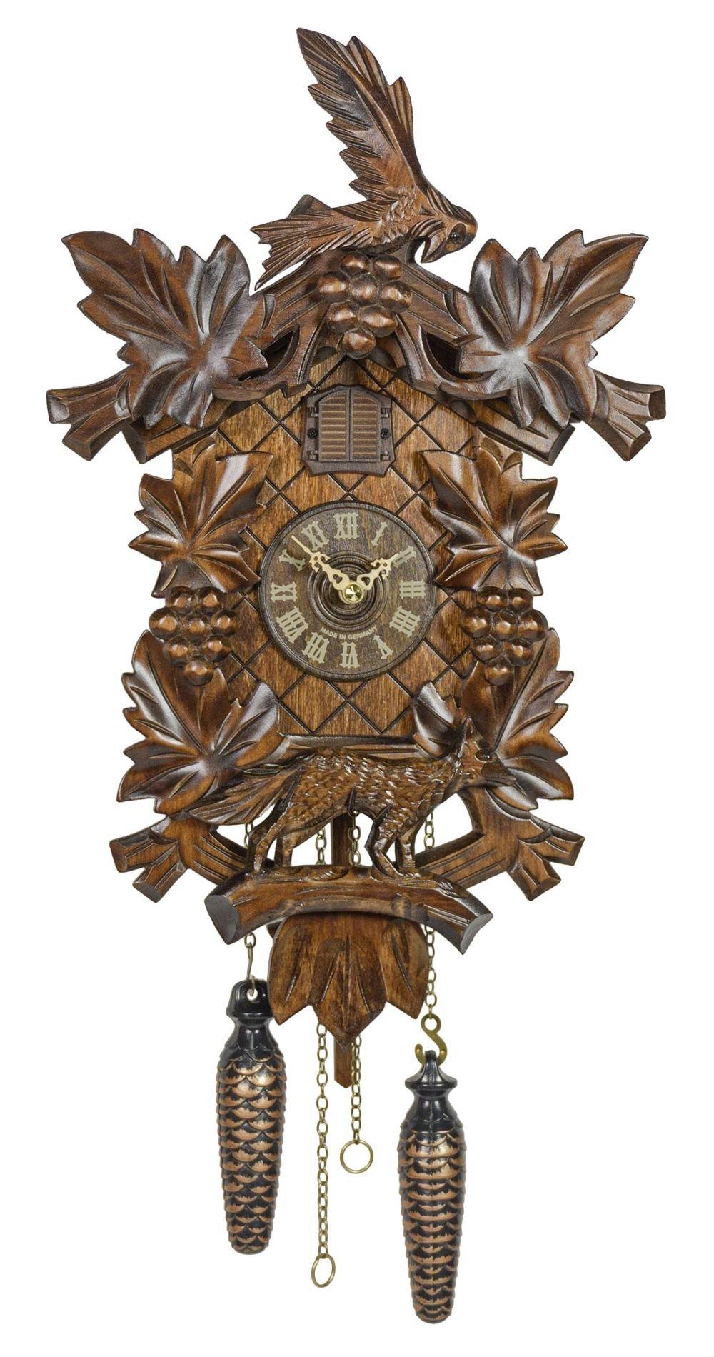 Quartz Cuckoo Clock 6 leaves, Bird, Grapes incl. batteries TU 359 Q