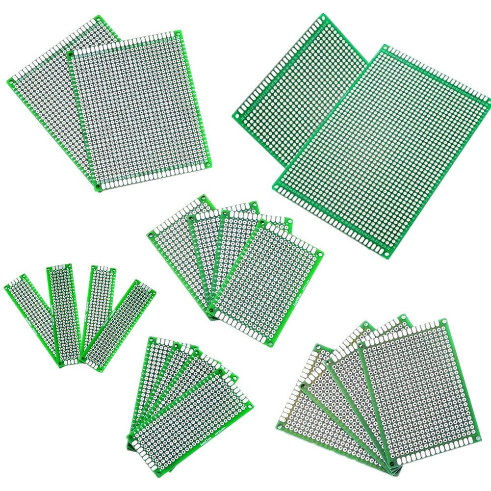 IZOKEE 25pcs Double Sided PCB Board Prototype Kit for DIY, 7 Sizes 2x8 3x7 4x6 5x7 7x9 8x12 9x15CM Compatible with Arduino Kits