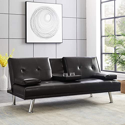 Depointer Modern Faux Leather Convertible Futon Sofa Bed Recliner Couch Metal Legs, 2 Cup Holders