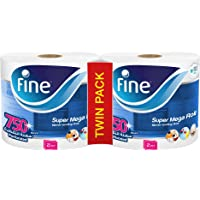 Fine, Paper Towel, Mega Roll, 750 sheets, 2 Ply, Pack of 2