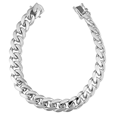 2e6ae92d56141 Amazon.com: Kooljewelry Mens Sterling Silver Miami Cuban Link ...
