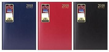 Agenda diaria para 2018, A4, día por página, página completa para sábado y domingo, color granate A4