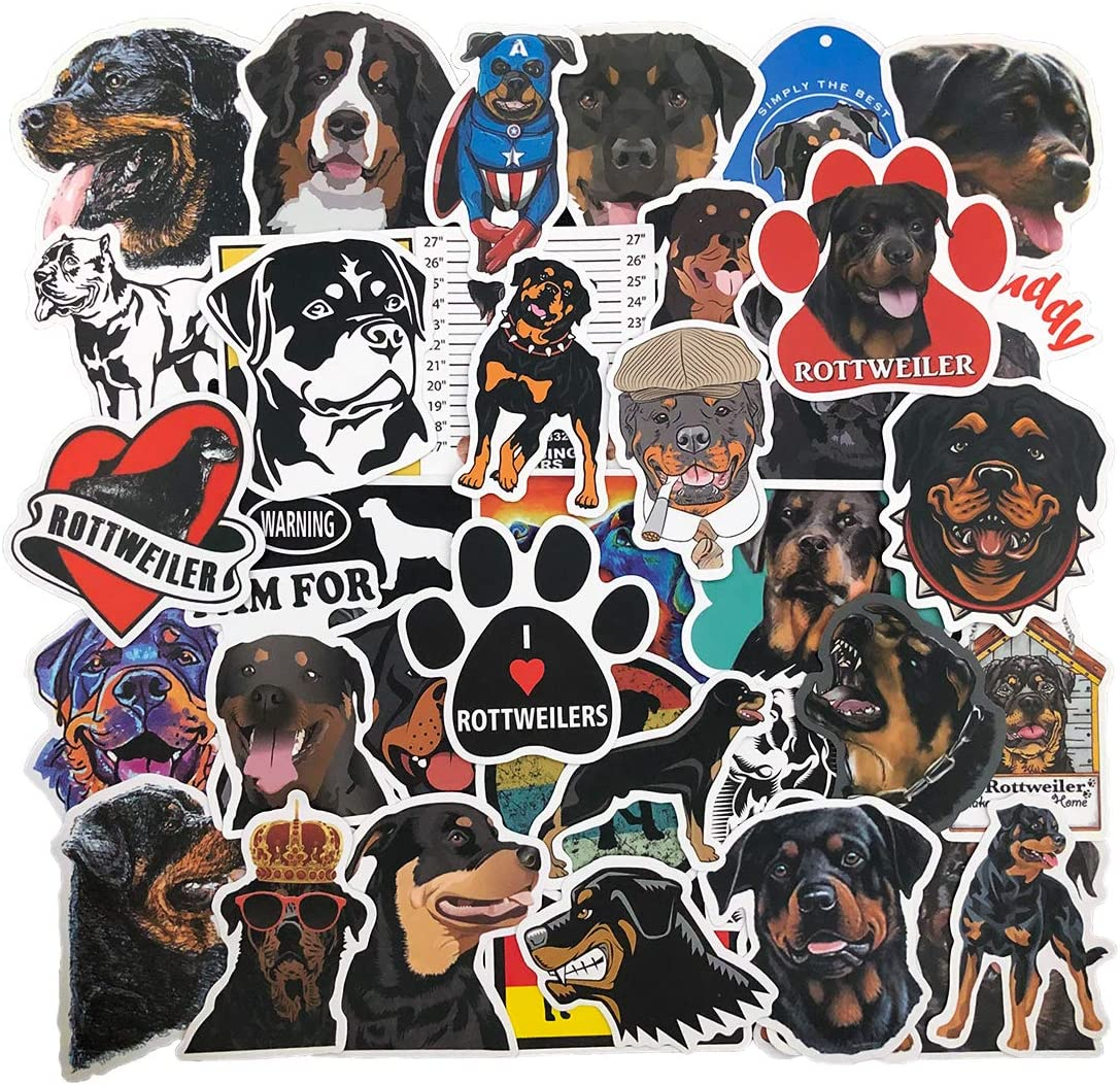 Cute Rottweiler Dog Stickers (50pcs), Stickers for Water-Bottles, Laptop, Hydroflasks, Phone, Car, Suitcase, Waterproof Vinyl Decal Sticker Pack