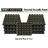 "MMT Acoustix™ Pyramid Studio Soundproofing Acoustic Foam Tiles, 1'x1', 2"", Charcoal (Set of 9) …"