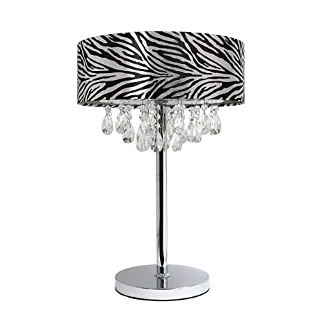 Elegant Designs LT1023 ZBA Romazzino Crystal And Chrome Table Lamp With  Ruched Fabric Drum Shade