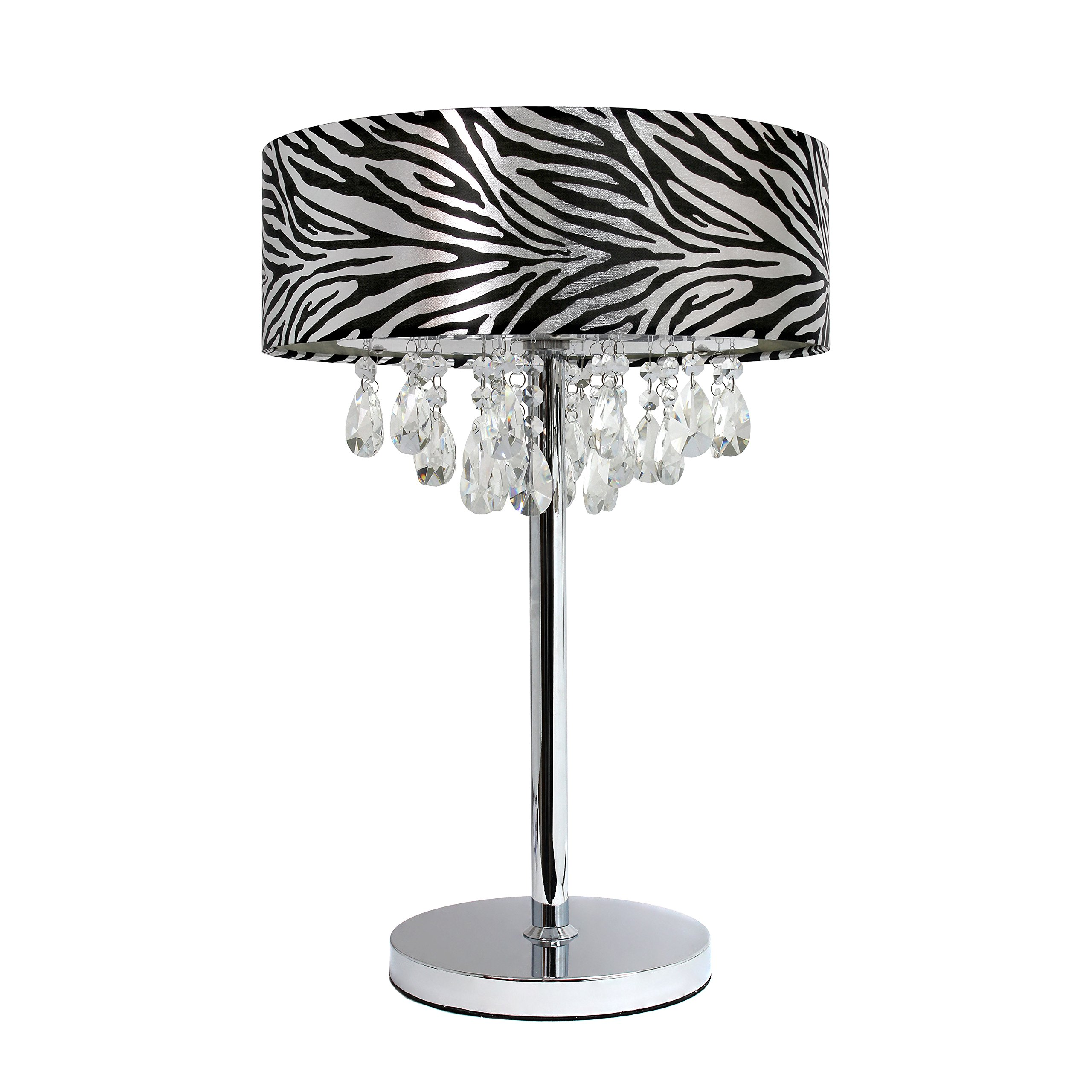 Elegant Designs LT1023-BLK Romazzino Crystal and Chrome Table Lamp with Ruched Fabric Drum Shade, Zebra Print by Elegant Designs