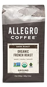 Allegro Coffee Organic French Roast Ground Coffee, 12 Ounce