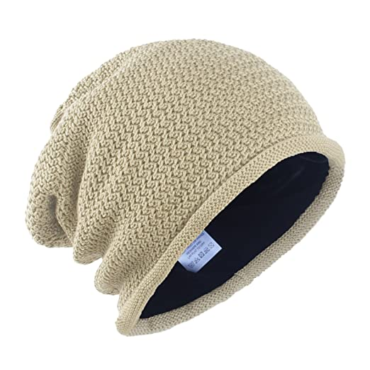 deb568afb19 Janey&Rubbins Unisex Daily Slouchy Baggy Solid Cotton Knit Beanie Hat Skull  Ski Cap (Beige)
