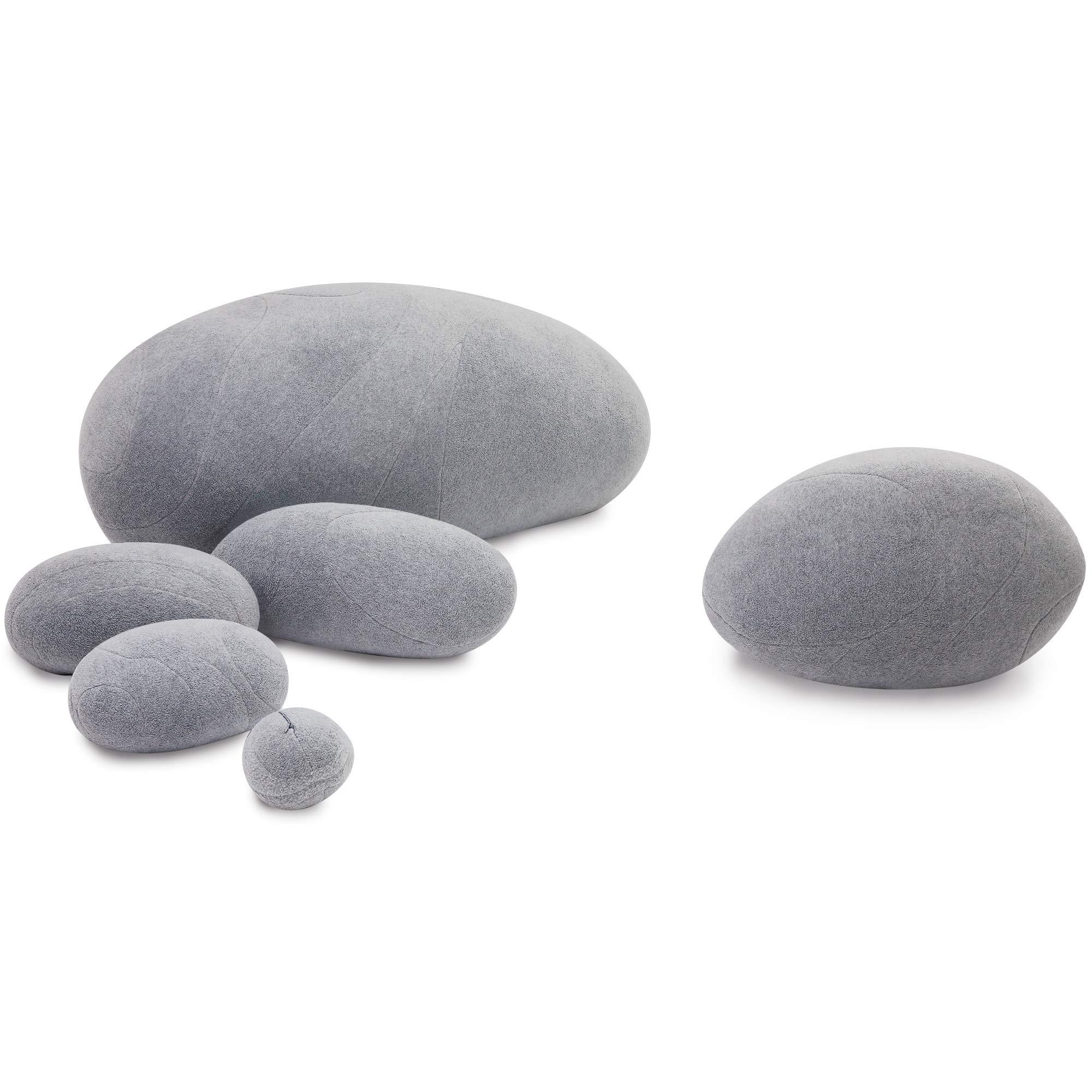 YXCSELL Three-Dimensional Huge Living Rocks Stones Pillows 6 Mix Sizes Stuffed Pillows Big Rock Pillows New Pebble Pillows (Light Grey)