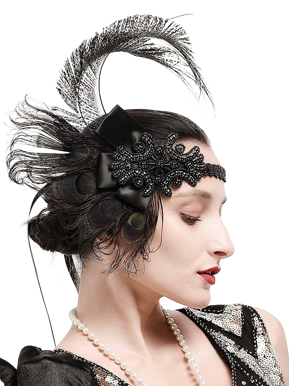 Amazon.com  Zivyes 1920s Accessories Peacock Feather Headband Women s  Costume Headwear Hat Accessories Flapper Wedding Headpiece (Color 1)   Clothing a61942cb8ec