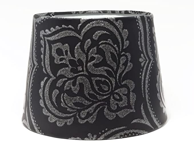 Damask lampshade or ceiling light shade black silver glitter lamps damask lampshade or ceiling light shade black silver glitter lamps bedroom accessories room decor 95quot aloadofball Image collections