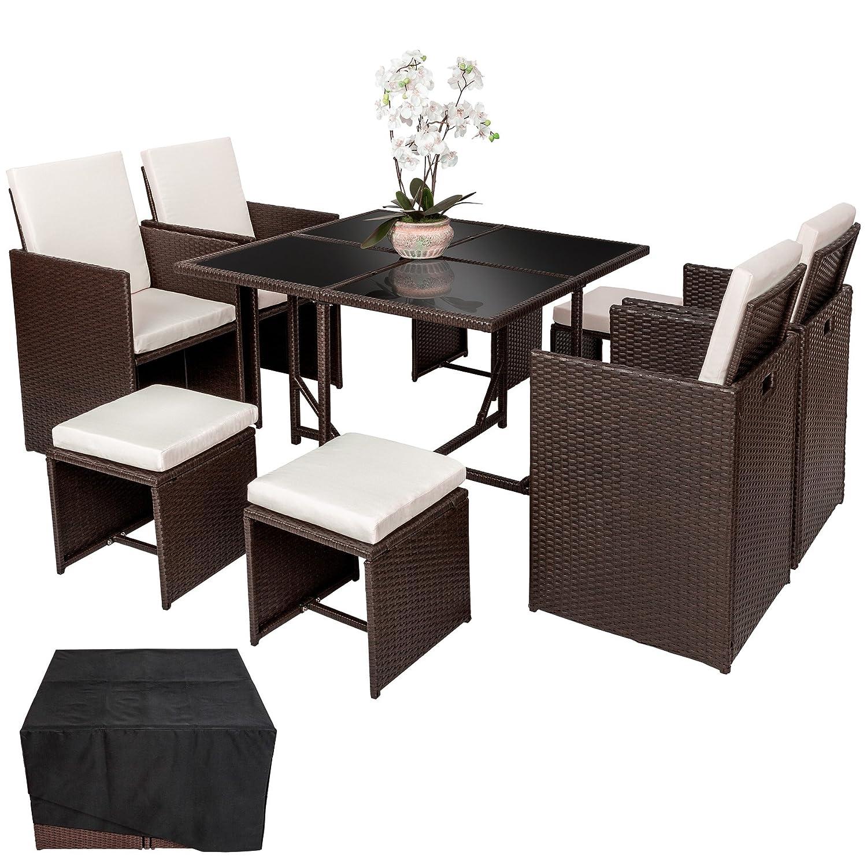 TecTake Poly Rattan Aluminium Sitzgruppe Cube | 4 Stühle 1 Tisch 4 Hocker | Schutzhülle & Edelstahlschrauben | Antik