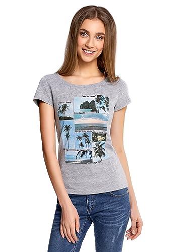 oodji Ultra Mujer Camiseta de Algodón con Estampado de Verano