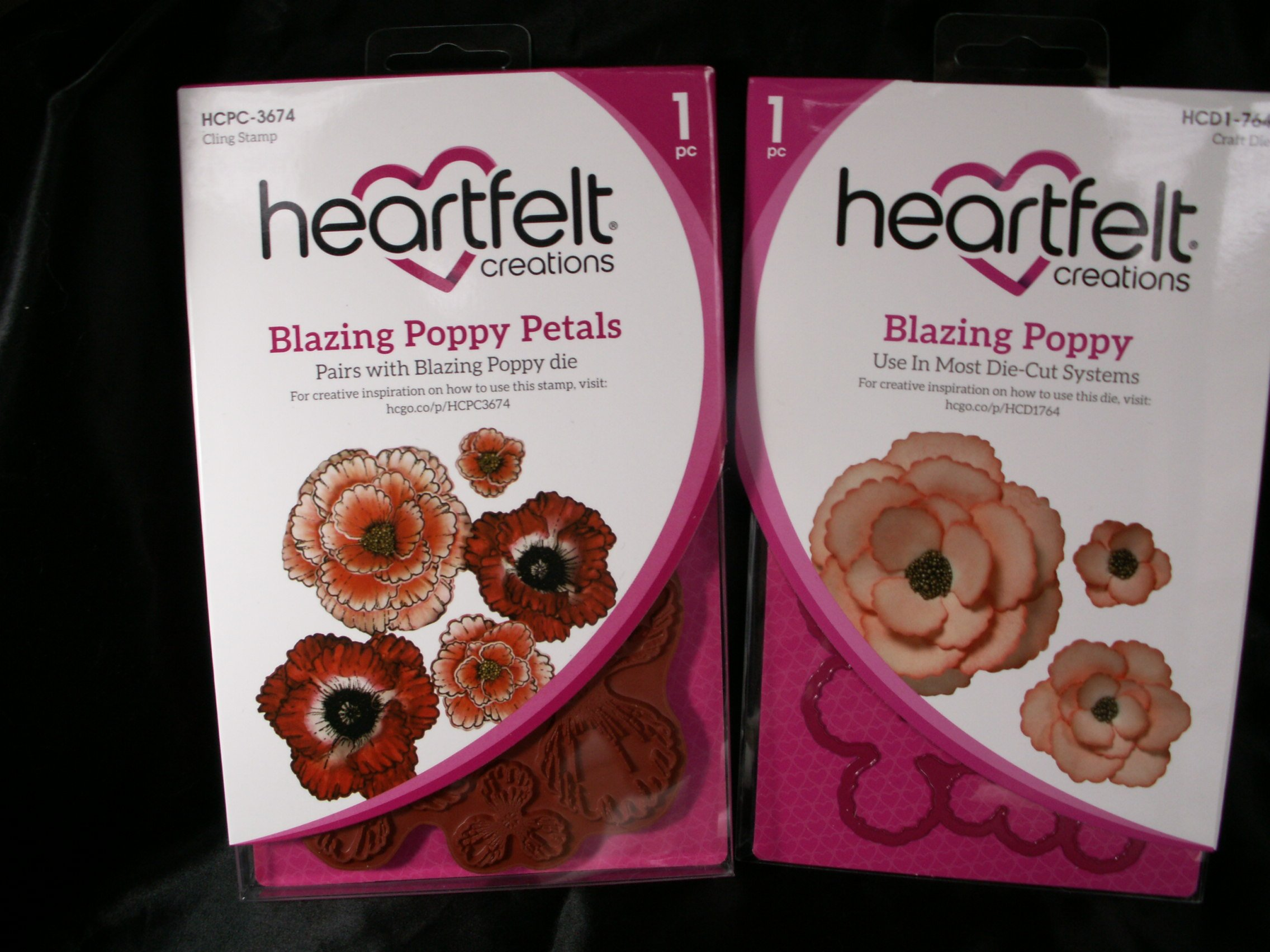 Bundle Heartfelt Creations Blazing Poppy Die & Stamp Set Pkg of 2 HCD1-764 & HCPC-3674