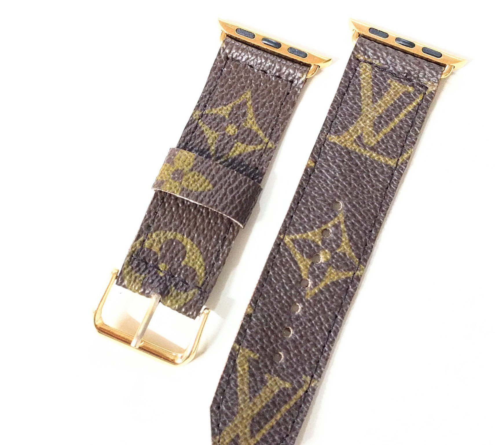 Handmade upcycled and repurposed watch band to fit your apple watch from old LV bag's canvas size 38mm gold