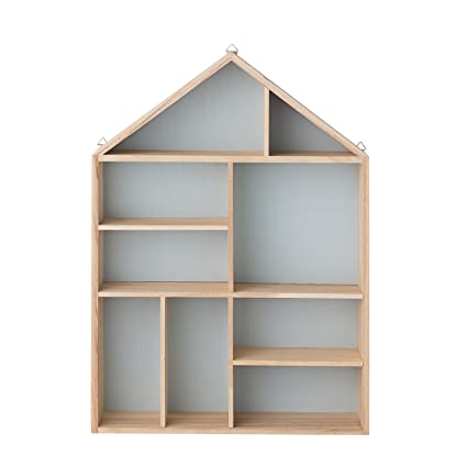 Bloomingville Natural and Sky Blue Wood House Shaped Display
