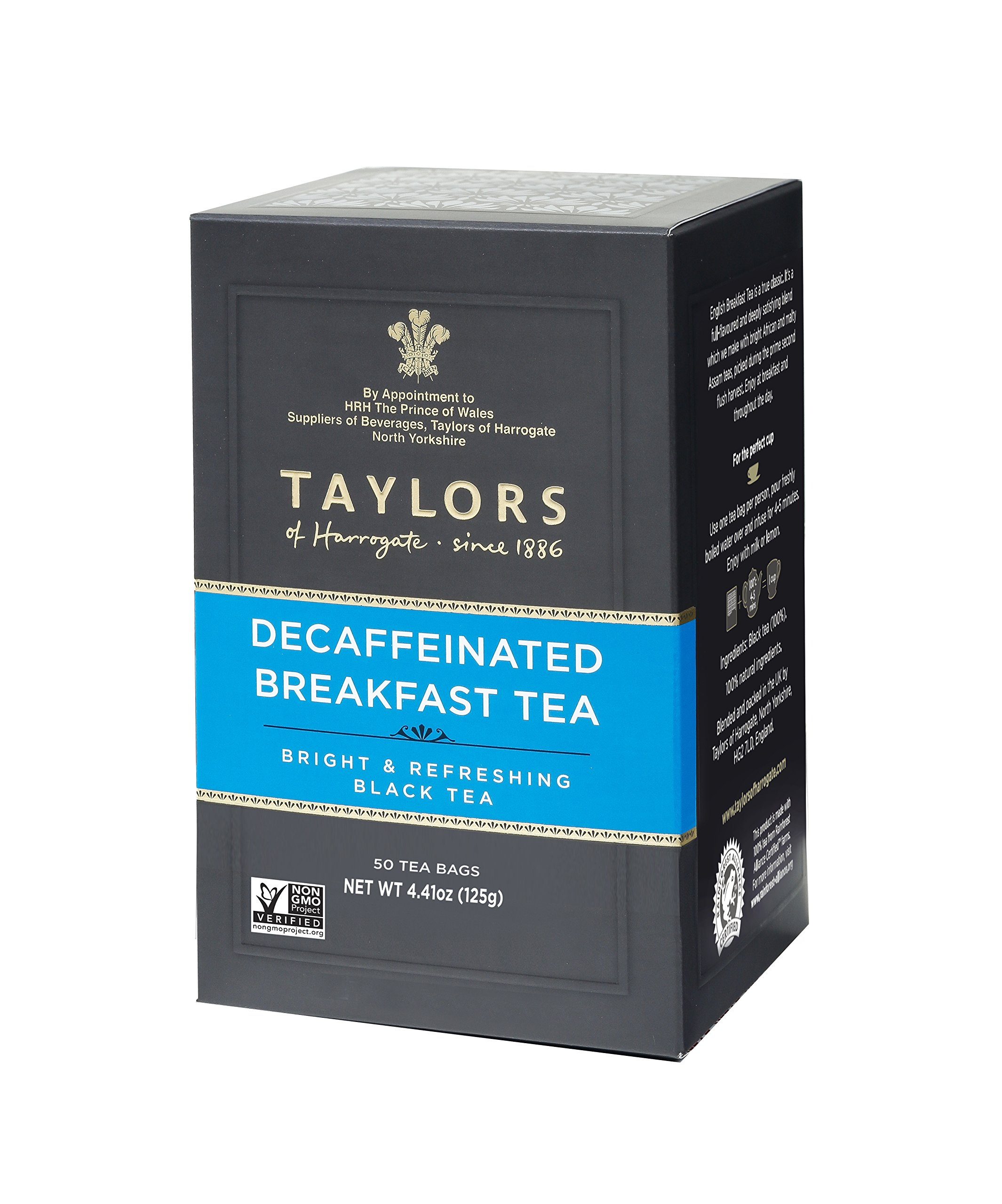 Taylors of Harrogate Decaffeinated Breakfast, 50 Teabags (Pack of 6)