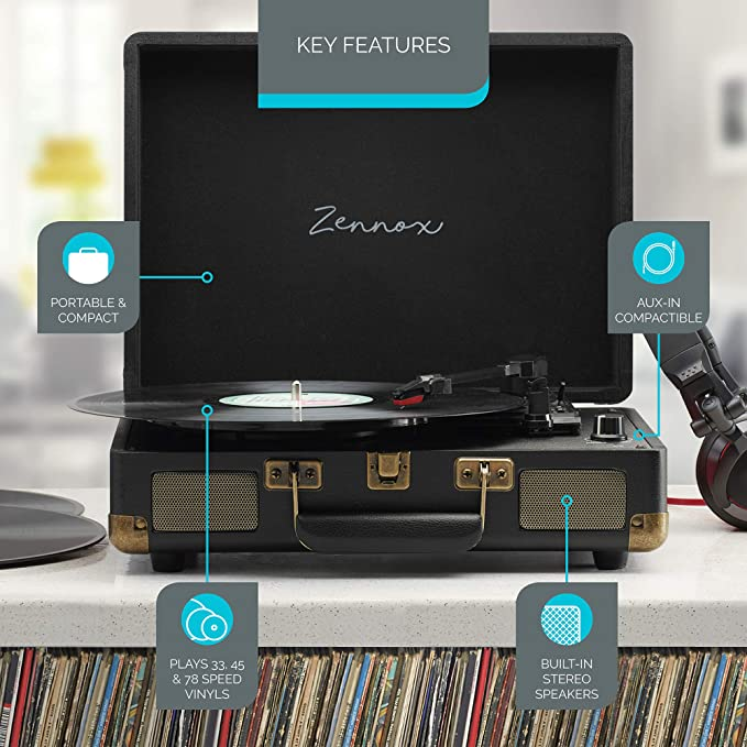 Zennox Reproductor de discos tipo maletín con cubierta portátil de ...
