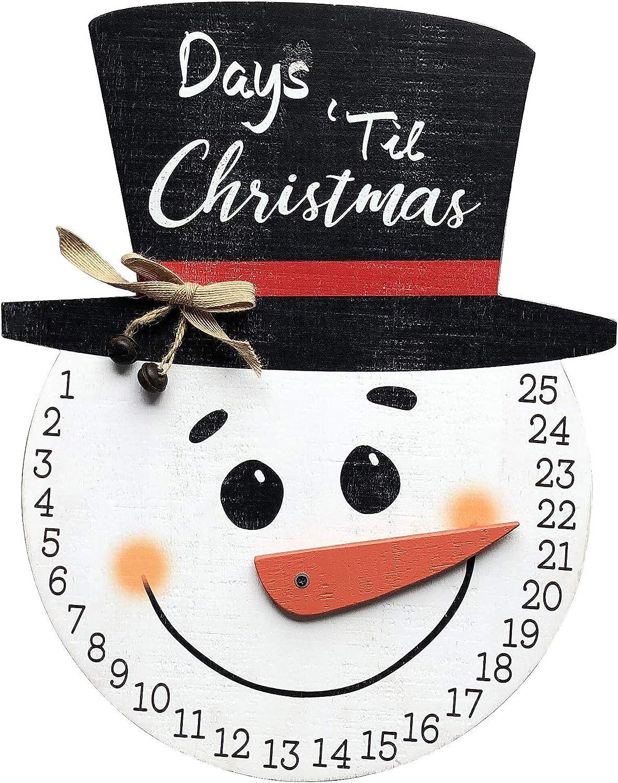NIKKY HOME Snowman Advent Calendar 25 Days Until Christmas Wall Countdown Wooden Calendar for The Holidays