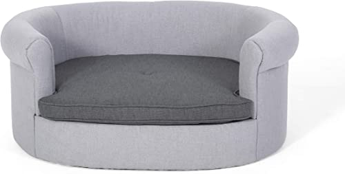 Great Deal Furniture Setlla Oval Fabric Dog Sofa, Light Gray and Charcoal