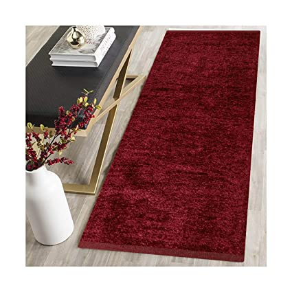 zeff Furnishing Polyester Soft Indoor Modern Shag Area Rug Carpet with Feather Touch for Dining Room, Home Bedroom, (Maroon Colour) (22 X 48)
