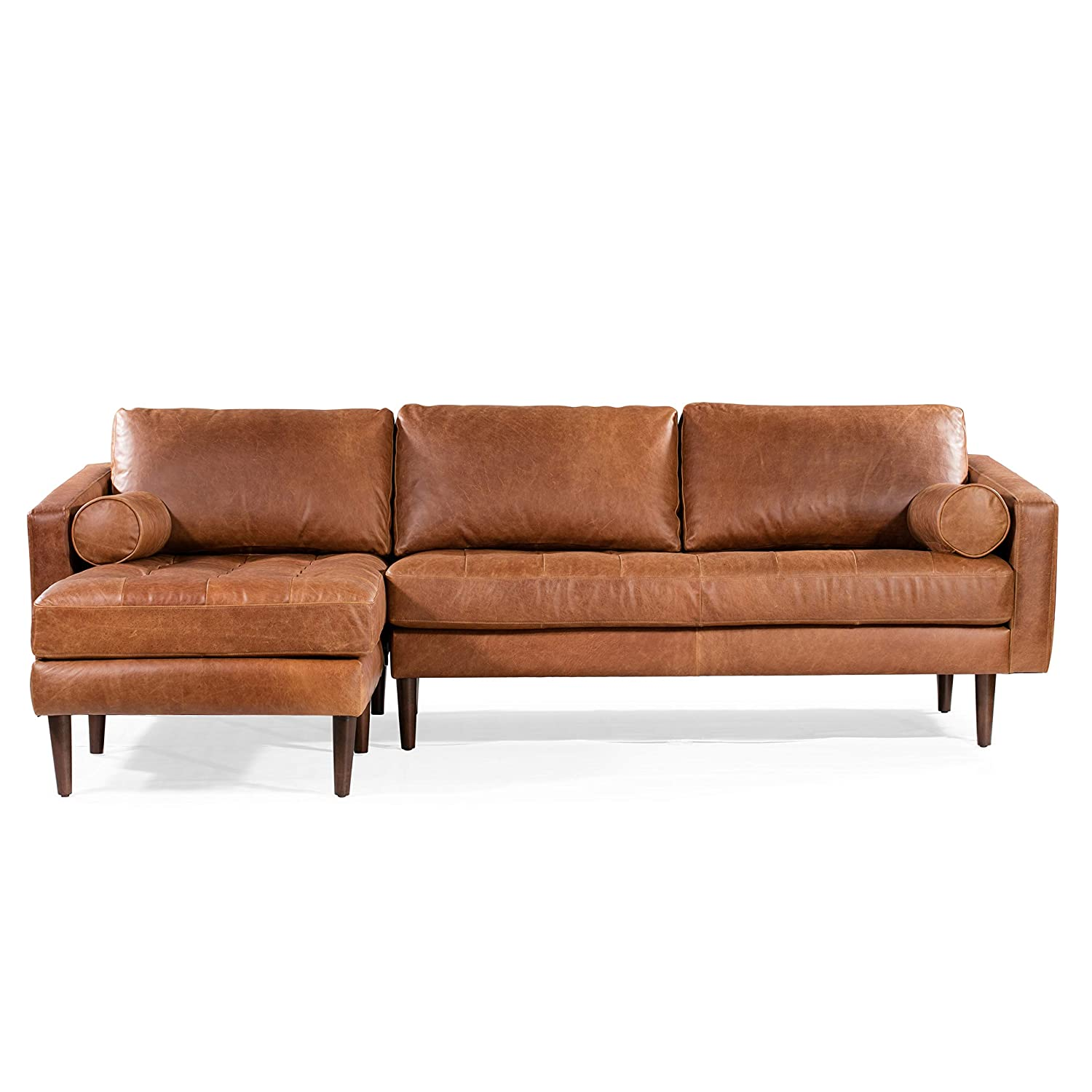 Pleasant Poly Bark Napa Left Sectional Leather Sofa In Cognac Tan Spiritservingveterans Wood Chair Design Ideas Spiritservingveteransorg