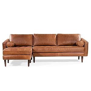 POLY & BARK Napa Sofa Variation (Left Sectional Sofa, Cognac Tan)