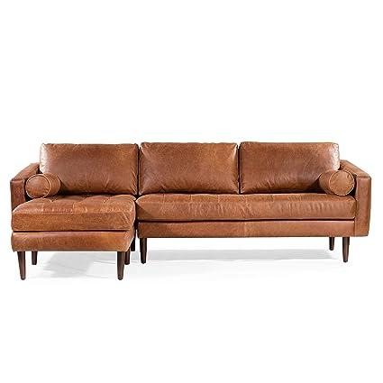 Brilliant Poly Bark Napa Left Sectional Sofa In Cognac Tan Beatyapartments Chair Design Images Beatyapartmentscom