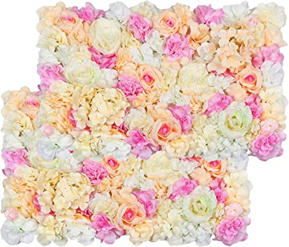 10pcs Hanging Artificial Silk Flower Wall Panel Wedding Venue Decor Hot Pink