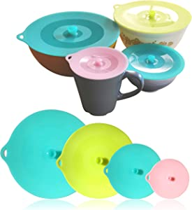 """Reusable Suction Silicone Lids Set: 4 Sizes (4.2"""" 