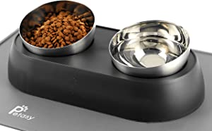 Petasy Elevated Cat Food Bowls with Silicone Feeding Mat for Kittens, Cats, Small Dogs - Anti-Stress Raised Stainless Steel Pet Bowl Dishwasher-Safe Food & Water Dish Slow Feeder for Whisker Fatigue