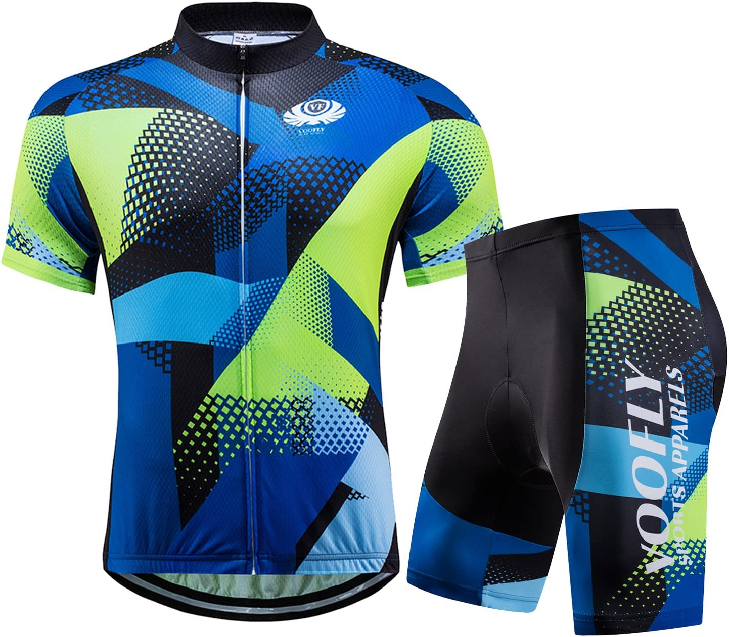 voofly Men's Cycling Jersey Set Men Short Sleeve Compression Bike Shorts Gel Padded Biking Clothing : Clothing